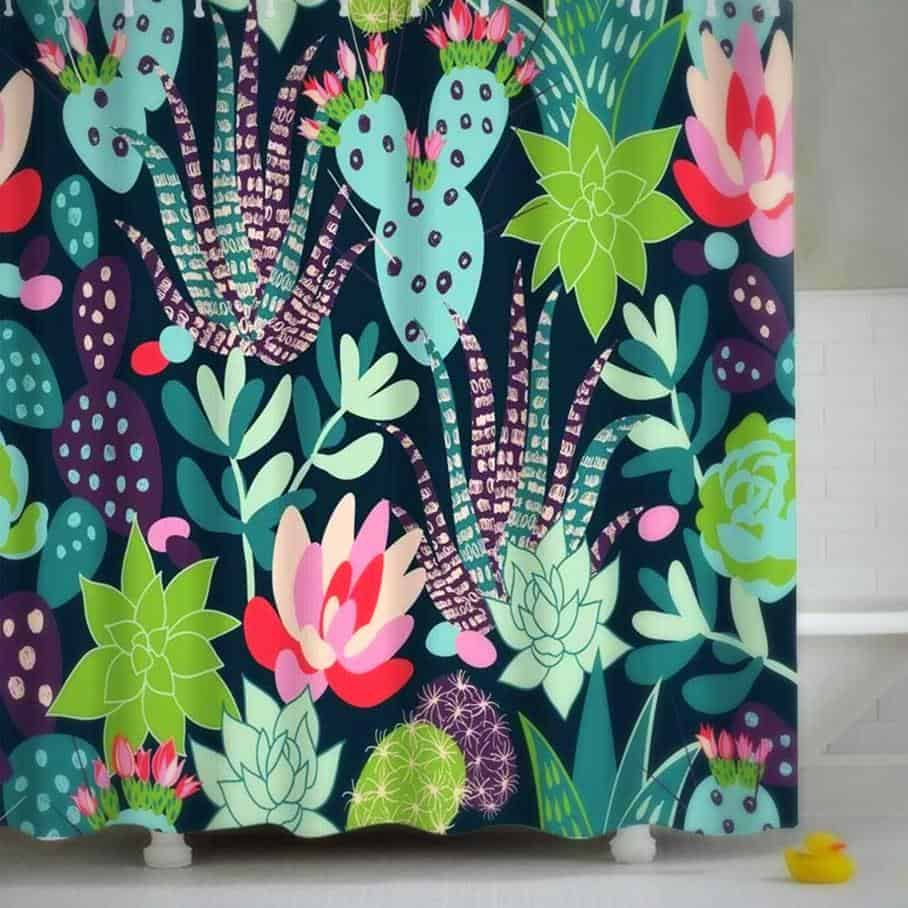 Cactus & Flowers Shower Curtain unique and elegant Shower curtain Lamasoll / 180x180cm