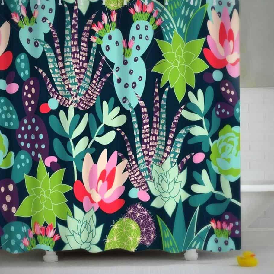 Cactus & Flowers Shower Curtain unique and elegant Shower curtain Lamasoll / 180x180cm