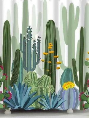 Cactus & Flowers Shower Curtain