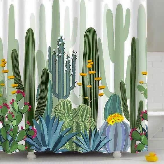 Cactus & Flowers Shower Curtain unique and elegant Shower curtain Water Rhino / 180x180cm