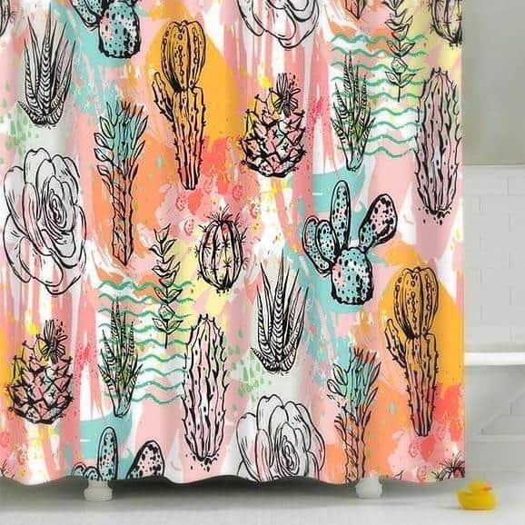 Cactus & Flowers Shower Curtain unique and elegant Shower curtain Colossal Peach / 180x180cm