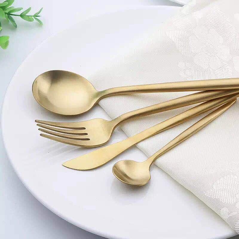Monolist by Ingrid Gold Flatware 4pcs / Shiny & Matte unique and elegant Flatware