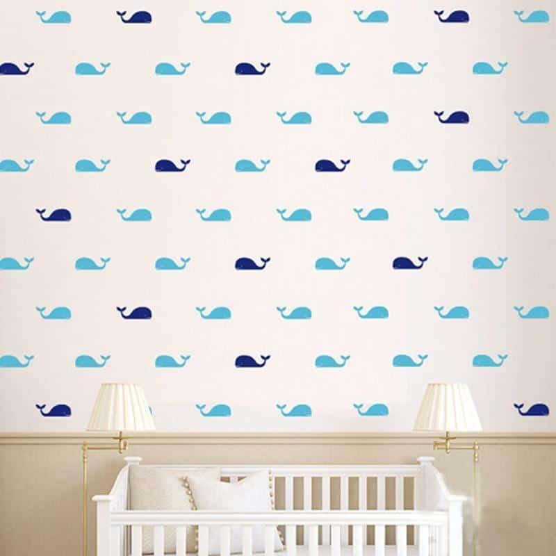 Fish Whales Wall Sticker 60pcs Wall sticker Blue & Navy Blue / 9cmx3cm left head
