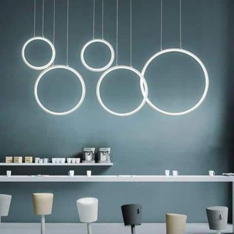 360° S2 Modern Ring Chandelier unique and elegant Pendant lighting Dimming color / 5 rings