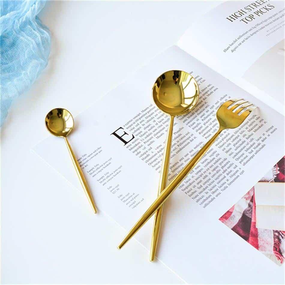 Gold Set 4-Piece Flatware Set by Ingrid | Matte & Shiny
