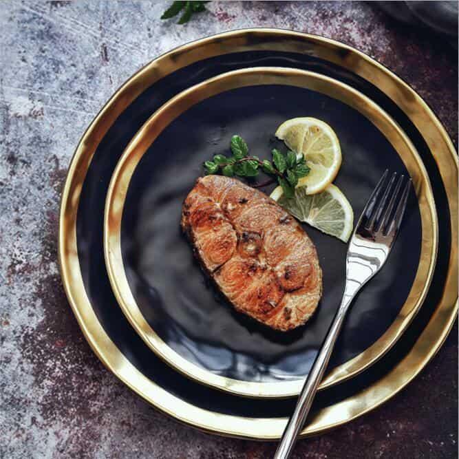 Lunar Black Dinnerware | Gold Trim
