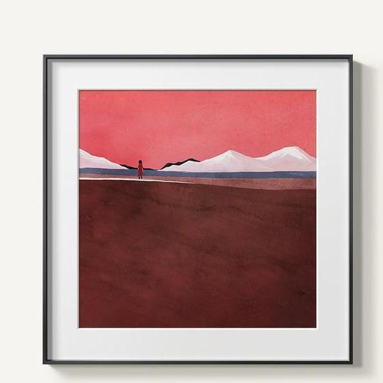 Abstract Mountains | Unframed Canvas Art unique and elegant Canvas print - Wall Art Brown / 60x60cm