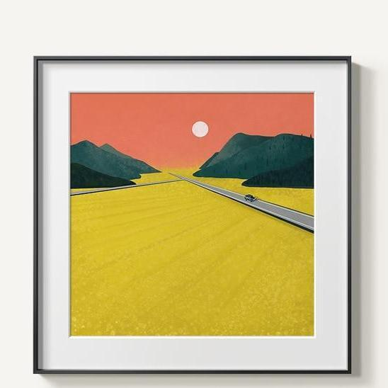 Abstract Mountains | Unframed Canvas Art unique and elegant Canvas print - Wall Art Yellow / 60x60cm