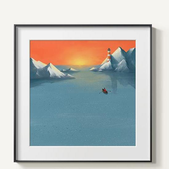 Abstract Mountains | Unframed Canvas Art unique and elegant Canvas print - Wall Art Blue / 60x60cm