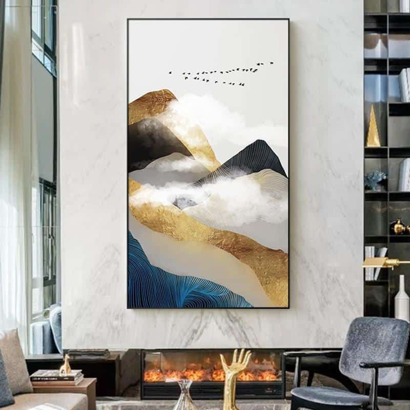Golden Mountain & Cloud | Unframed Canvas Art