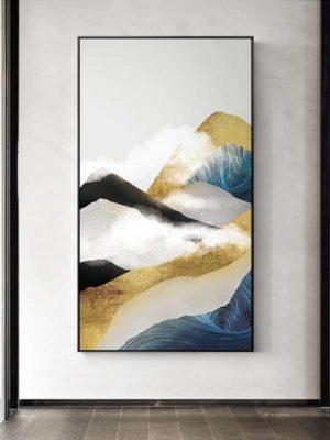 Golden Mountain & Cloud | Unframed Canvas Art