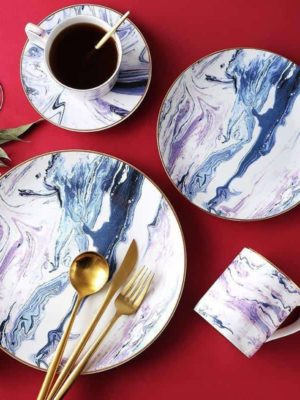 Pavilion | Marbled Blue Dinnerware Plate