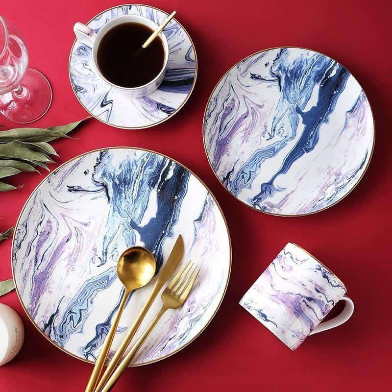Pavilion   Marbled Blue Dinnerware Plate