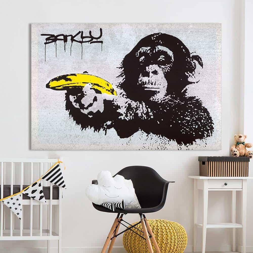 Chimpanzee With Banana Banksy | Unframed Canvas Art