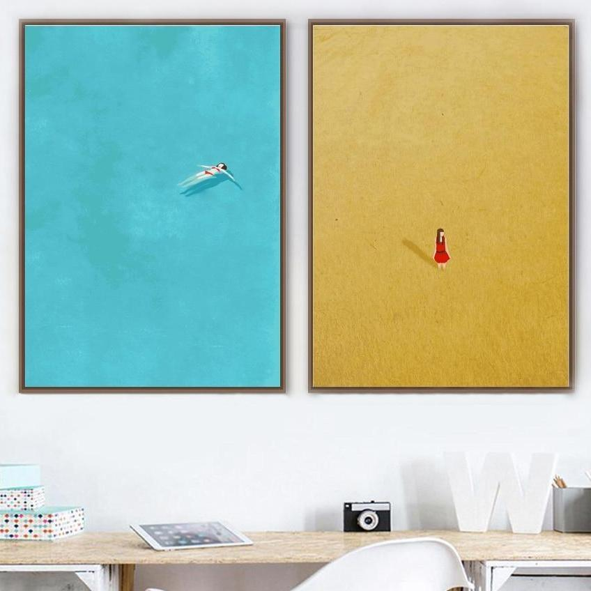 Girl In Yellow Rye Field | Swim Girl | Unframed Canvas Art