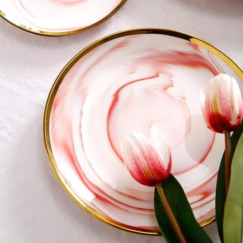 Mirage Marbled Plate Gold Trim | Dinnerware Set