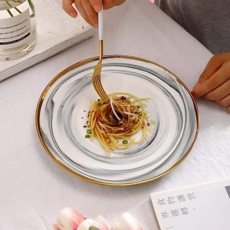 Mirage Marbled Plate Gold Trim   Dinnerware Set