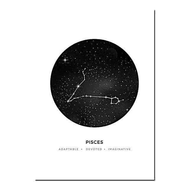 Personal Horoscope | Zodiac Signs Canvas print - Wall Art Pisces / 40x60cm