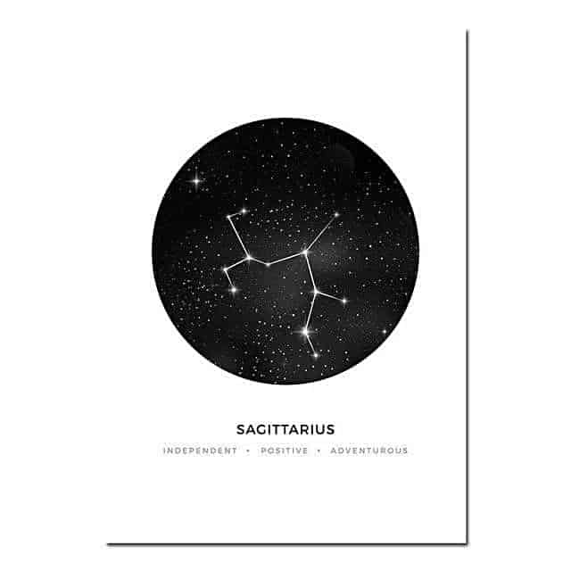 Personal Horoscope | Zodiac Signs Canvas print - Wall Art Sagittarius / 40x60cm