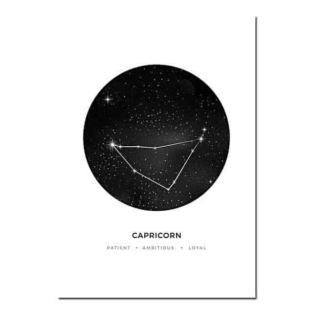 Personal Horoscope | Zodiac Signs Canvas print - Wall Art Capricorn / 40x60cm