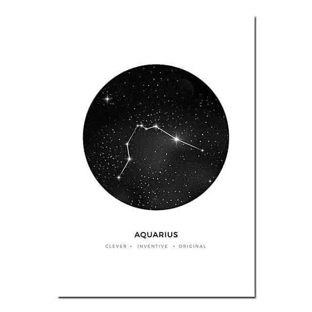 Personal Horoscope | Zodiac Signs Canvas print - Wall Art Aquarius / 40x60cm