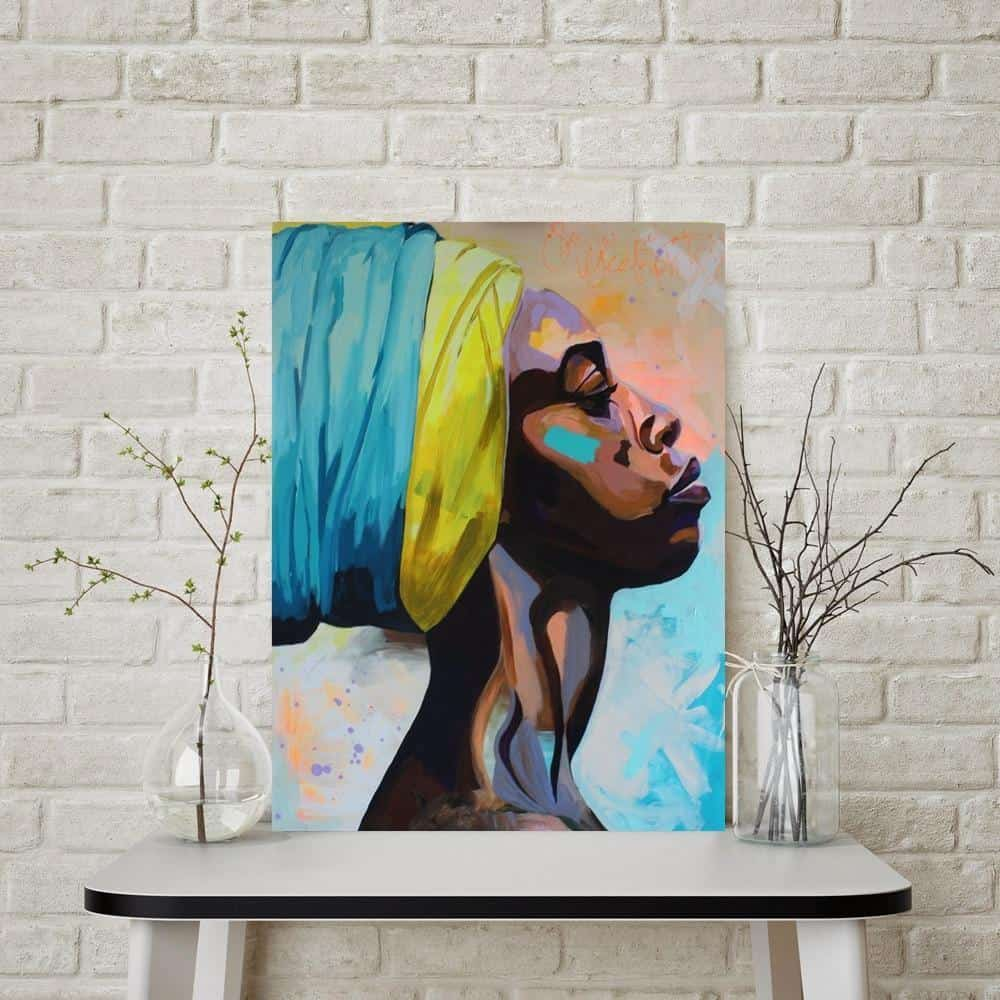 She Lives In Africa | African Woman | Unframed Canvas Art