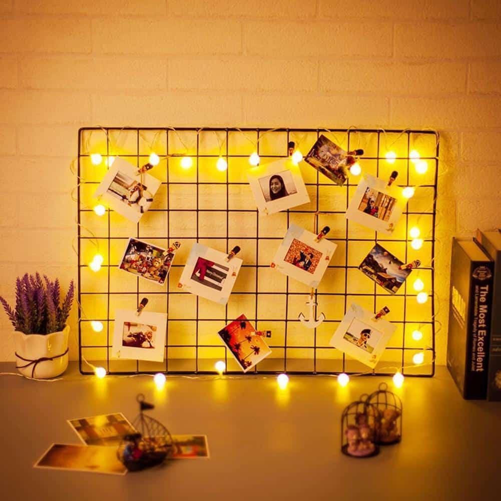 Big Exploration | Metal Photo Wire Grid | Wall Creative Grid | Panel Shelf
