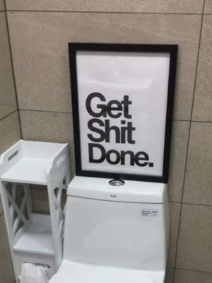 Harmony Tower White | Get Shit Done | Unframed Canvas Art