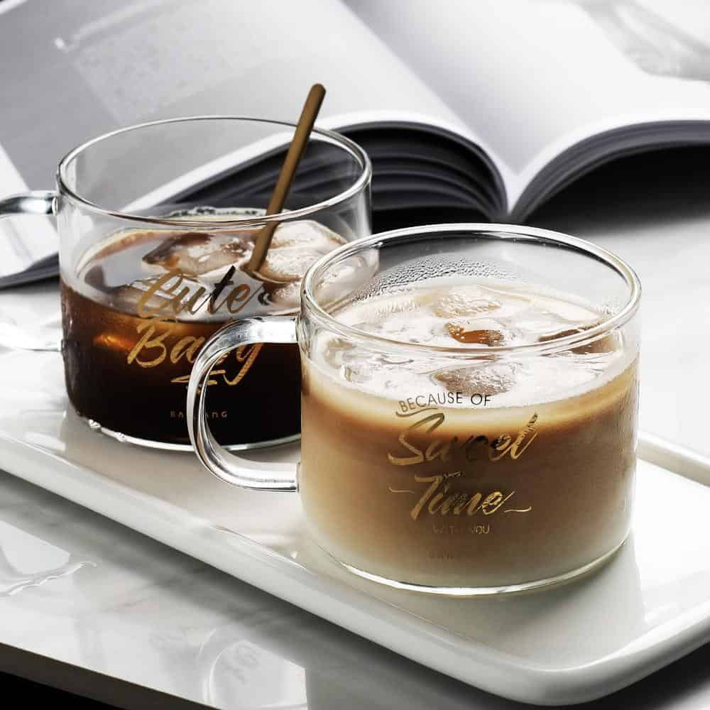 Holiday Glass / 2pcs Drinkware Cute Baby & Sweet Time / 500ml