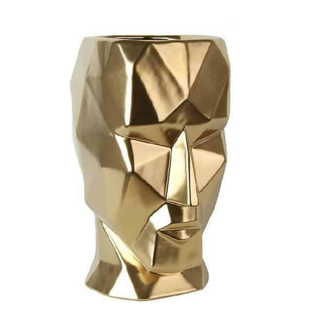 Mosaic Face by Hanry Jacobsson Vase Gold Large