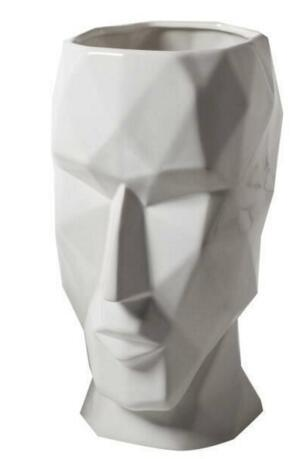 Mosaic Face by Hanry Jacobsson Vase White Large