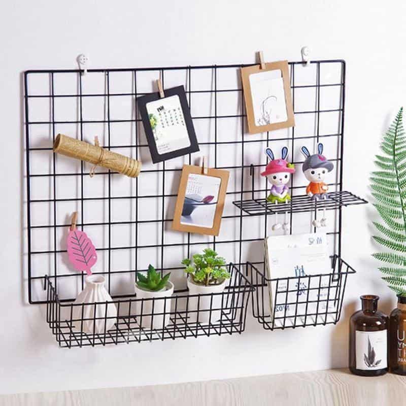 Exploration | Shelf with Baskets | Metal Wire Grid | Wall Creative Panel Shelf
