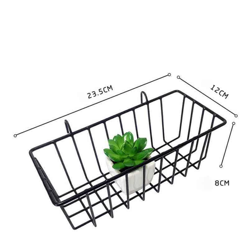 Exploration | Shelf with Baskets | Metal Wire Grid | Wall Creative Panel Shelf Black basket small