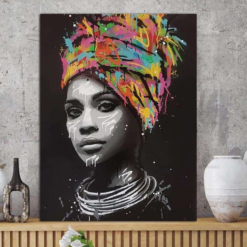African Woman | Girl With An Attitude | Unframed Canvas Art unique and elegant Canvas print - Wall Art