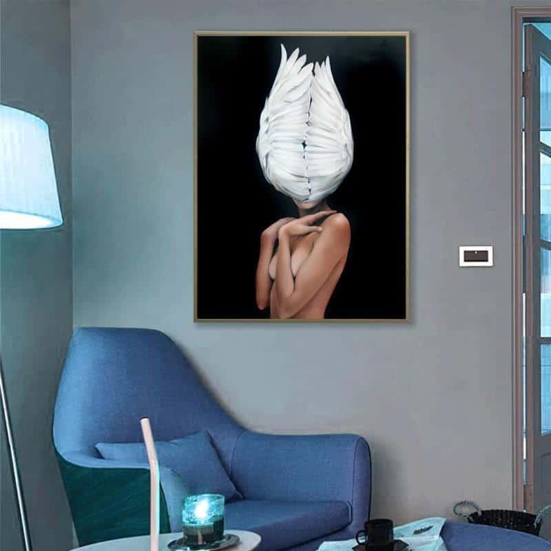 Girl With Angel Wings | Fluffy | Zenk | Unframed Canvas Art