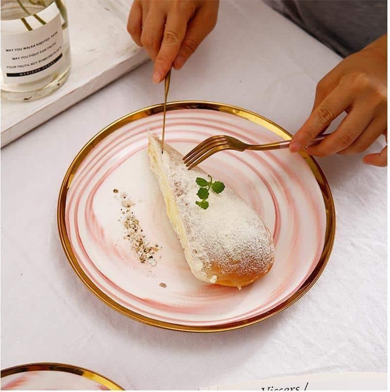 Mirage Marbled Plate Gold Trim | Dinnerware Set