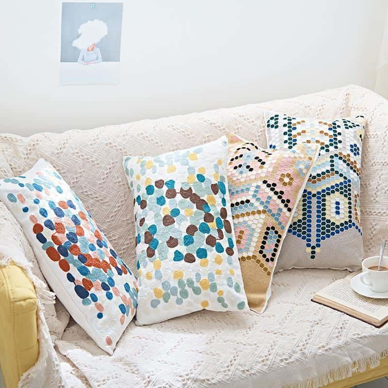 Cinnamon Colorful Dots Embroidery Cushion Pillow