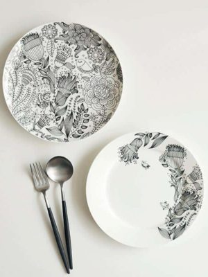Paramount Porcelain Plate | Black And White Dinnerware