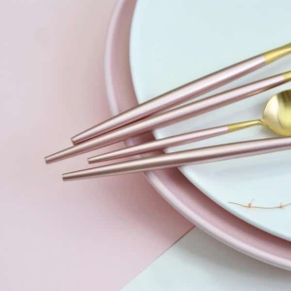 Lilly Gold Flatware Set   Pink Handle