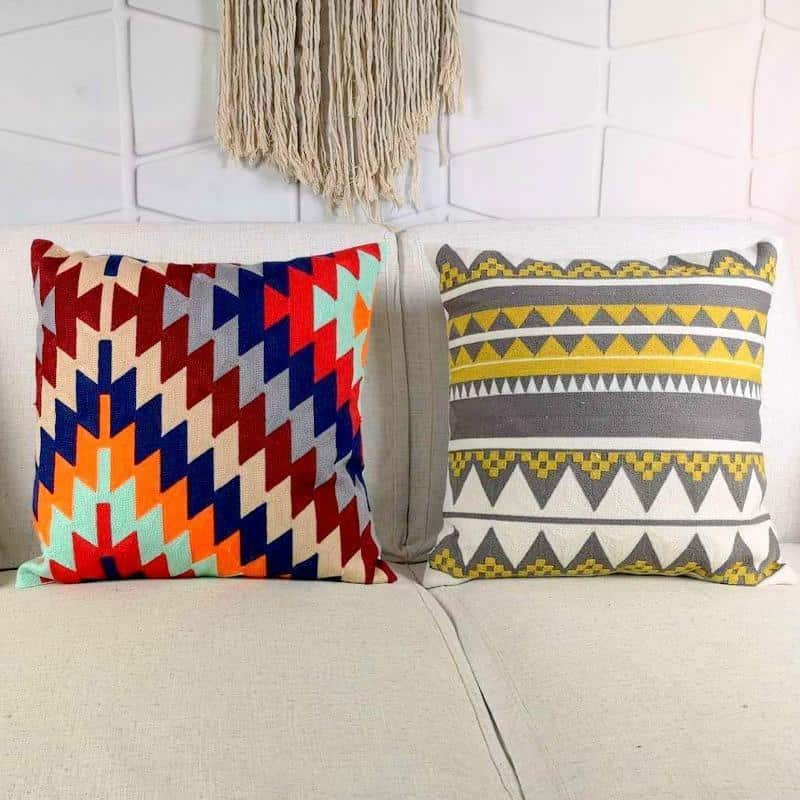 Kilim Embroidery Aquarelle Cushion