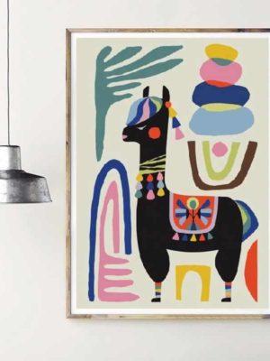 Alpaca Black | Unframed Canvas Art