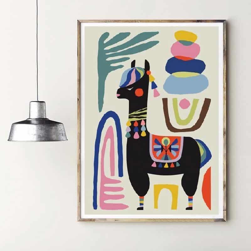 Alpaca Black | Unframed Canvas Art unique and elegant Canvas print - Wall Art Sheep / 60x80 cm