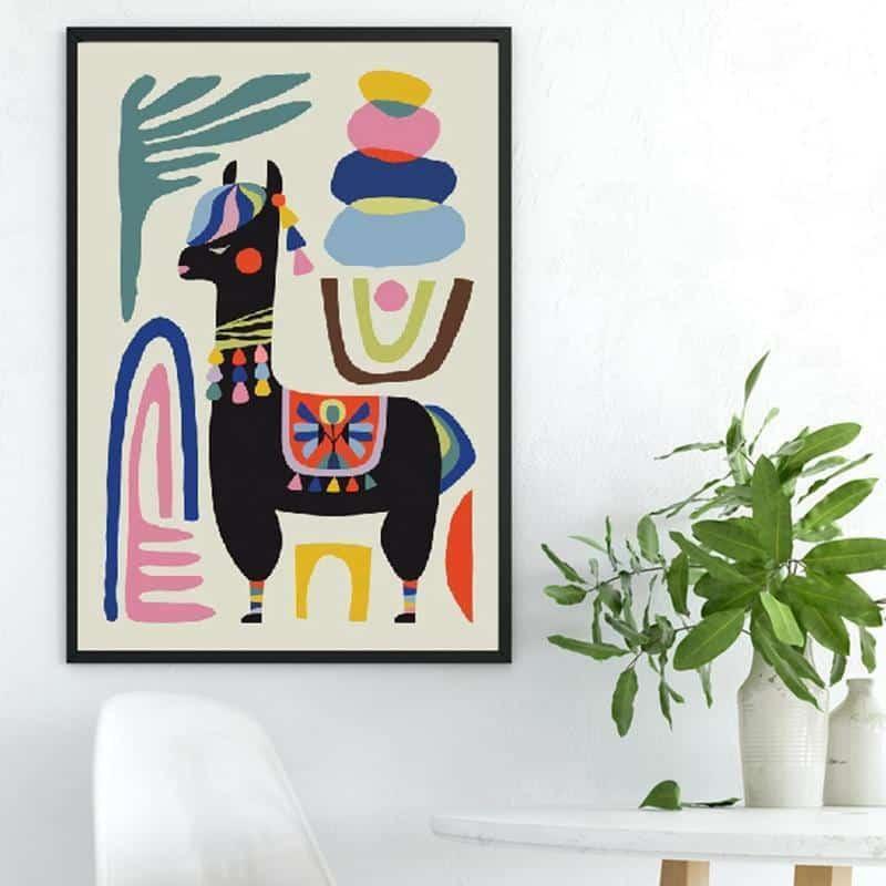 Alpaca Black | Unframed Canvas Art unique and elegant Canvas print - Wall Art