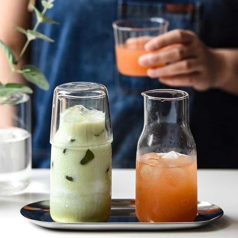 Lunas Glass Bottle+Cup Glass Tea Pot