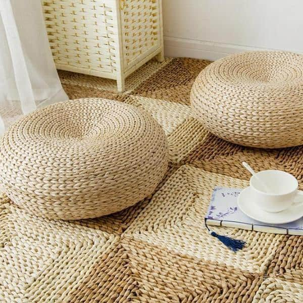 Marie Intrigue Floor Pillow Woven Grass / Jute Pouf