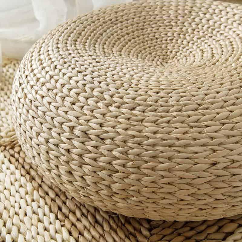 Marie Intrigue Floor Pillow Woven Grass / Jute Pouf