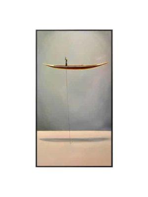 Man On A Golden Boat   Boat and Landscapes   Unframed Canvas Art