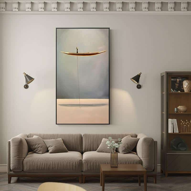 Man On A Golden Boat | Boat and Landscapes | Unframed Canvas Art