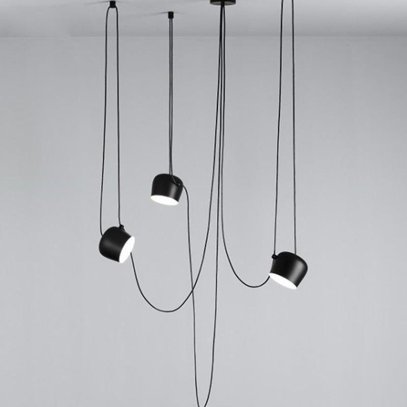 Hektor Drum Spot Pendant Lamp Pendant lighting Deep black / 6 heads / 350 cm