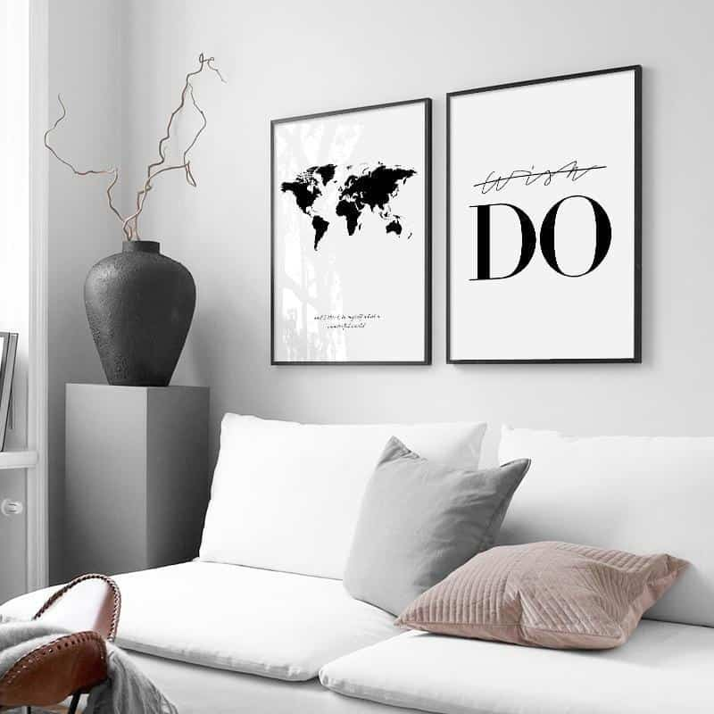 World Map Canvas Nordic Posters And Prints Wall Art Canvas Painting Black And White Print Poster - Homepage